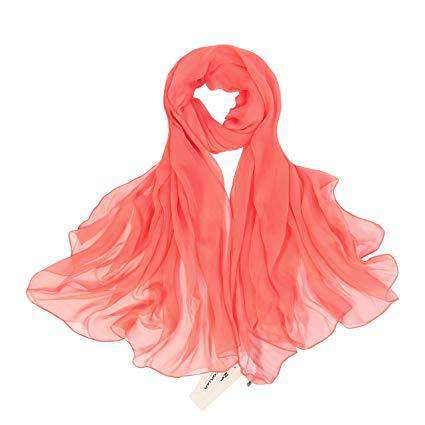 ZORJAR Womens Silk Scarves Beatiful Color Thin Lightweight Sunscreen Shawls and Beach Wraps(Salmon)