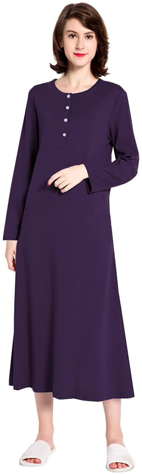 lantisan Cotton Knit Long Sleeve Nightgown for Women, Henley Full Length Sleep Dress