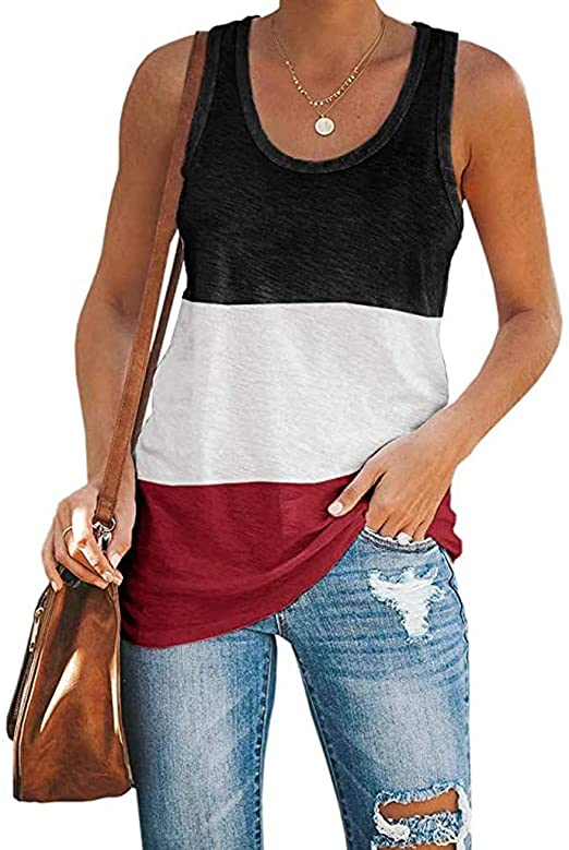 KANGMOON Womens Workout Color Block Tank Tops Racerback Yoga Basic Summer Casual Tee Shirt