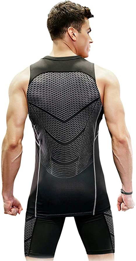 Speverdr Mens Muscle Tank Top Cool Cry Mesh Shark Line Sleeveless Shirts for Bodybuilding Gym Athlet