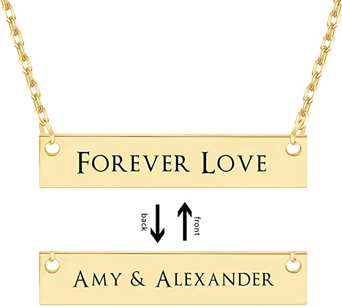 Personalized Bar Necklace, Custom Engraved with Any Message Dainty Pendant Jewelry Gift for Women