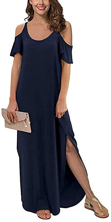 Women's Summer Casual Loose Long Dress Strapless Strap Cold Shoulder Short Sleeve Split Maxi Dresses