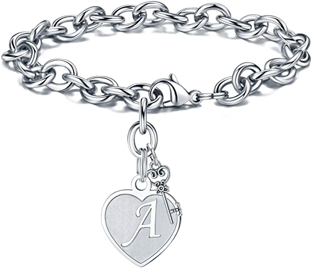 M MOOHAM Heart Initial Bracelets for Women Gifts - Engraved 26 Letters Initial Charms Bracelet Stain