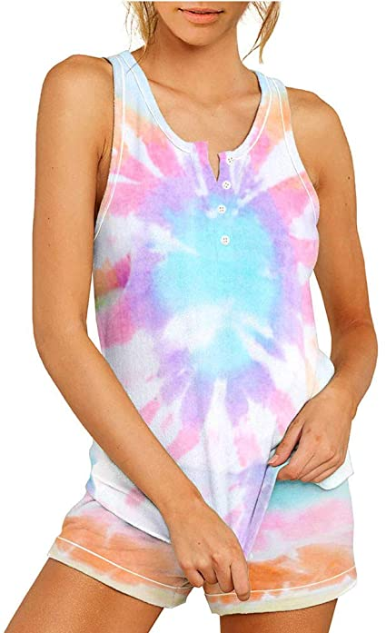 Yali Women's Pajama Sets Tie Dye Printed Sleepwear Lounge Short Pajama Set Night Shirt with Shorts 2