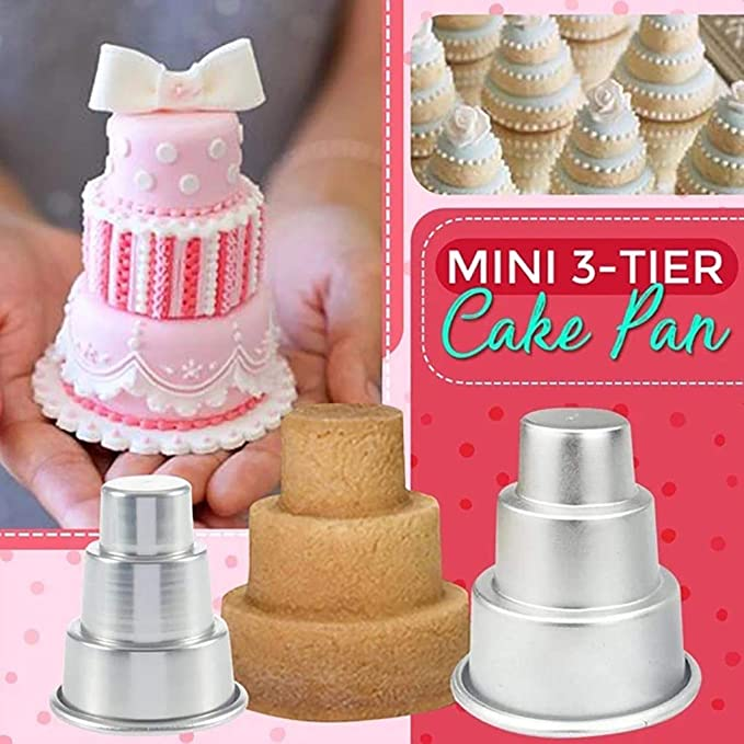 2020 DIY Mini Three-Tiered Cake Pan Pudding Mold Muffin Decorating Mould Tools