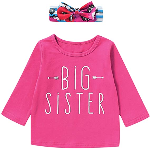 Aslaylme Big Sister Little Sister Matching Outfits Floral Stripe Clothes Set