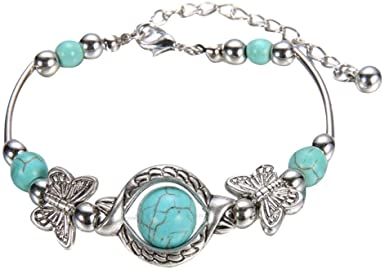WQG 2020 HOT Natural Turquoise Carved Butterfly Pendant Bohemian Women's Bracelet Jewelry