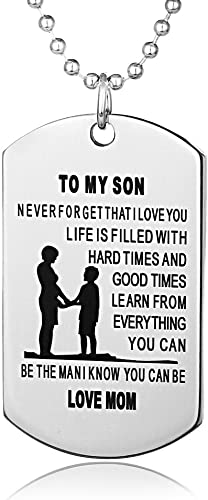 FAYERXL Father Son Dog Tags Boys Necklace for Kids Military Mens Jewelry Custom Pendant Dad to Son L