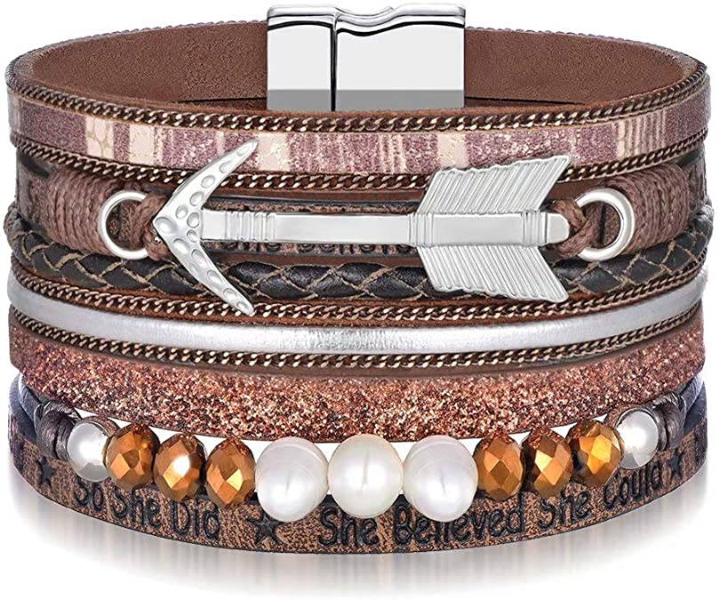M MOOHAM 2020 Graduation Gifts for Her, Inspirational Graduation Leather Wrap Bracelet with She Beli