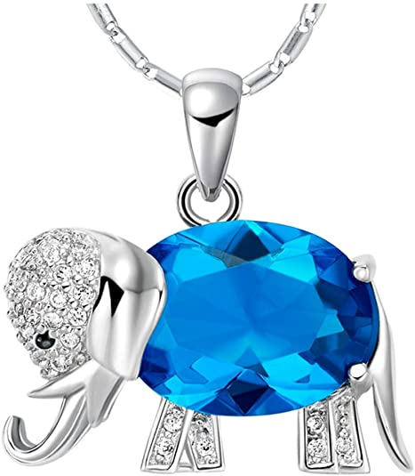 WIBERN Good Luck Memorial Keeps 18K White Gold Plated Purple Shine Crystal CZ Elephant Pendant Women