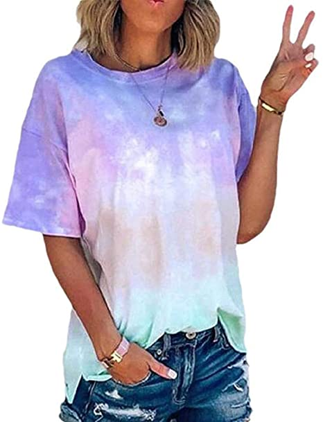 2020 Women Color Block Tie-Dye Patchwork Short Sleeve Crew-Neck T-Shirt Casual Tee Tops Camis Blouse