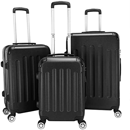 "3-in-1 Portable ABS Trolley Case 20"" / 24"" / 28"" Travel Luggage Suitcase Black"
