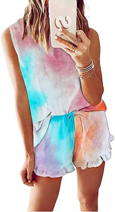2pcs Womens Tie Dye Printed Ruffle Pajama Sets Lounger Sleep Leisure Wear