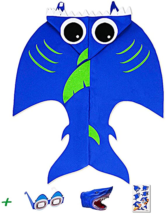 AINOLWAY Shark Capes for Kids Boys Dress Up Party Favors Blue