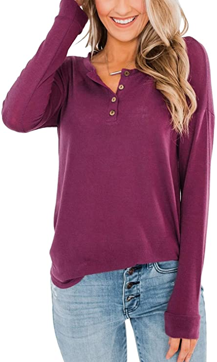 Beauhuty Womens Henley Shirts Casual V Neck Waffle Knit Long Sleeves Tops Button Down Pullover Sweat