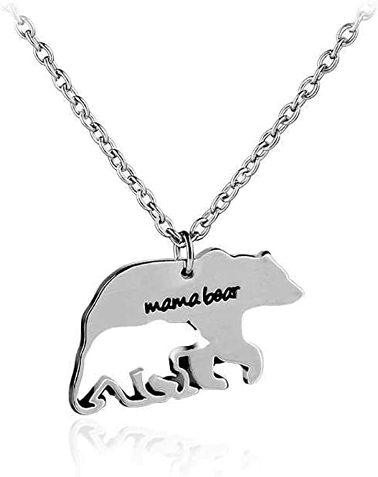 RoseMerry Mother Necklace Personalized Mama Bear Necklaces with 12 Months Birthstone Mothers Day Jew
