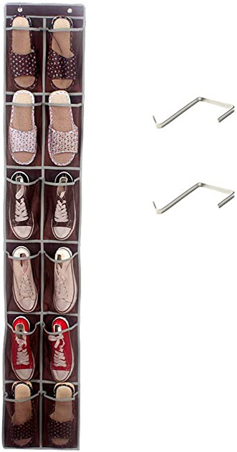 Hanging Over The Door Shoe Organizer, 12 Durable Pockets, Hooks, Large Breathable Mesh Pocket Stores
