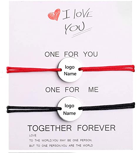 Couple Bracelets Personalized Can engrave names and patterns Pinky Promise Distance Relationship Bra