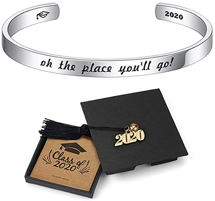 IEFSHINY 2020 Graduation Gift Cuff Bracelet - Inspirational Quote Mantra Stainless Steel Cuff Bangle