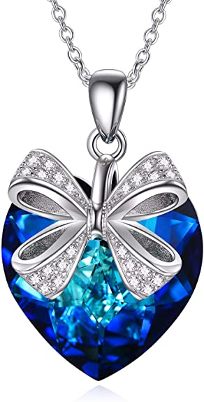 I Love You Jewelry Sterling Silver Bow Heart Necklace for Women, Gorgeous Blue Heart Crystal from Sw