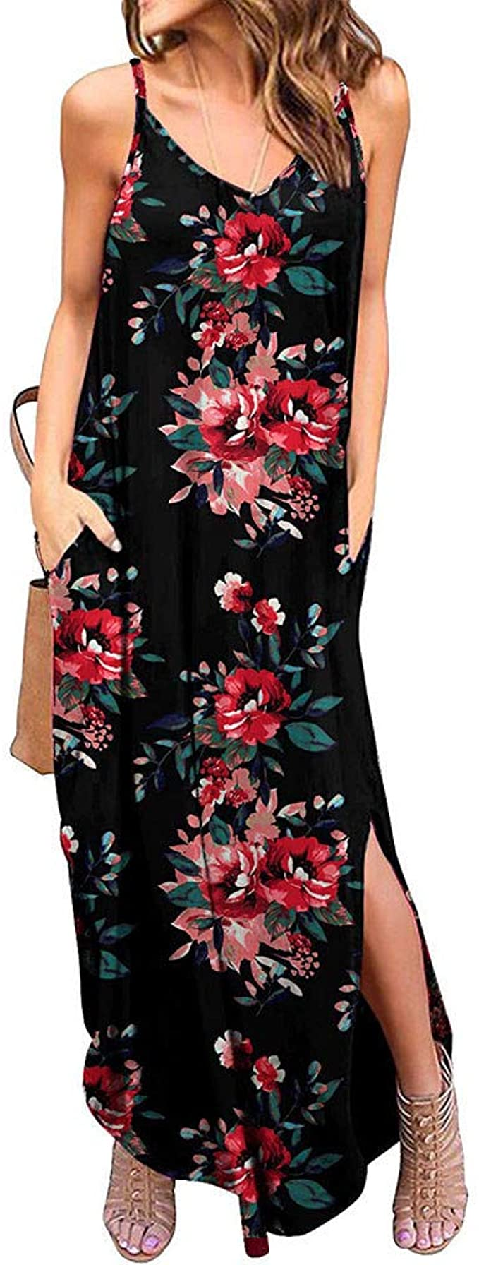 TAINAN Women's Summer Dress Casual Loose Beach Cover Up Long Print Cami Maxi Dresses with Pocket