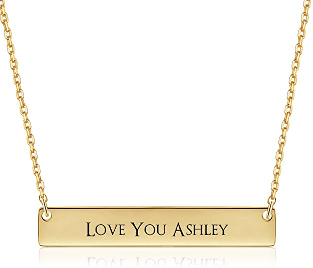 VESTVINE Personalized 3D Vertical Bar Necklace Custom Name Necklace Engraved Pendant Jewelry Gift fo