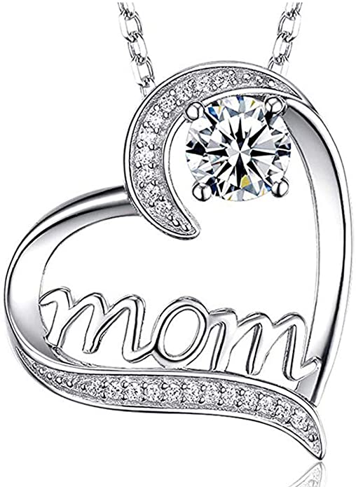 DXZN I Love You Mom Love Heart Necklace 925 Sterling Silver Rhinestone Necklace for Mom Jewelry Gift