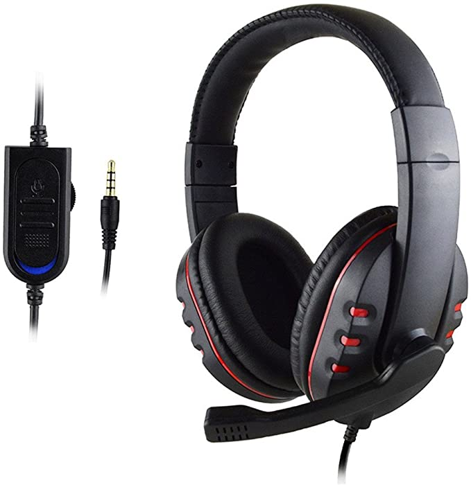 Stereo Gaming Headset for PS4, Noise Cancelling Over Ear Headphones with Mic, Bass Surround, for Lap