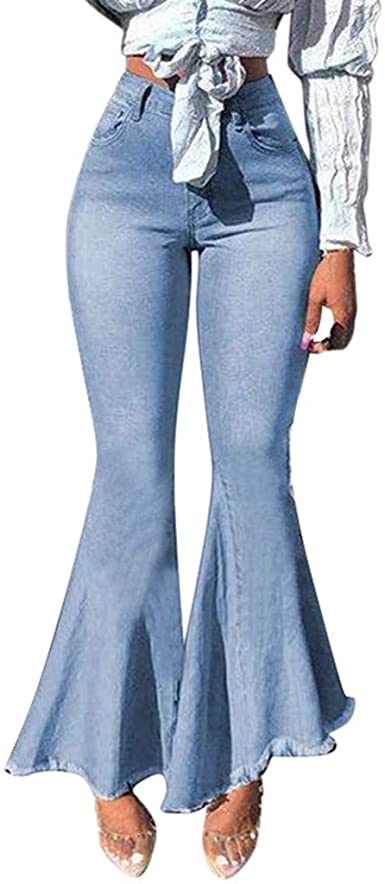 YunYoud Womens Splice Button Zipper Pocket Jeans Casual Denim Flares Wide Leg Pants