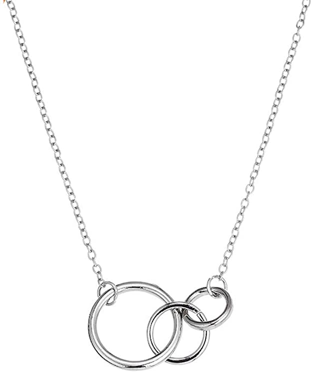 RoseMerry Mother Daughter Necklace Interlocking Infinity Double Circles Pendant Necklace Mothers Day