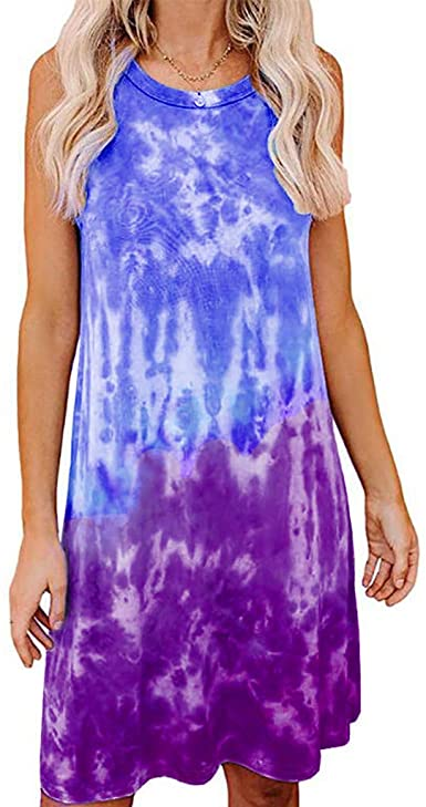 LLXIAO Tie Dye Shirt Dresses for Women 2020 Printed Summer Casual Gradient Short Sleeve Swing Dress