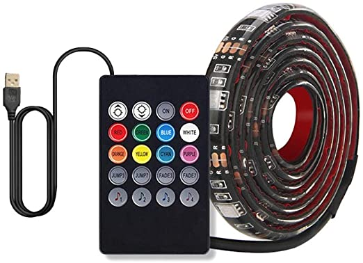 WQG 2020 LED Strip Lights Sync to Music USB 5050 Flexible RGB LED Strip Lights Music