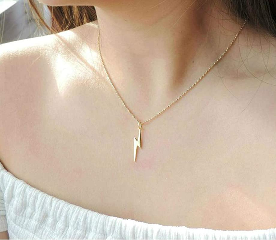 Lightning Bolt Necklace Dainty 18K Gold Plated Lighting Necklace for Women Teen Girls Personalized M