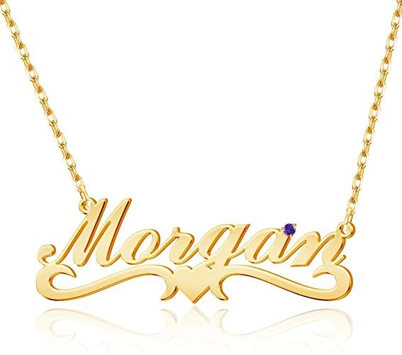 VESTVINE Name Necklace Personalized 18K Gold Plated Custom Made Nameplate Pendant with Birthstone Je