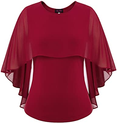 Hanna Nikole Women's Plus Size Double-Layered Chiffon Poncho Blouse Tops