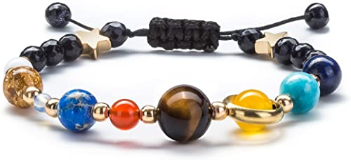Fesciory Women Solar System Bracelet Universe Galaxy The Eight Planets Guardian Star Natural Stone B