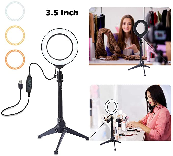 "Ring Light 3.5"" with Phone Stand Tripod Cradle Head 3 Light Modes LED Light Video Photography f"