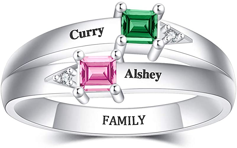 RoseMerry Name Rings Personalized with Birthstone 925 Sterling Silver Customized Promise Name Rings