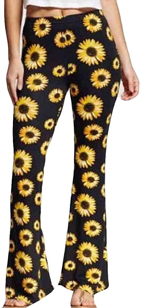 YunYoud Women Sunflower Print Loose Hot Pants Lady Fashion Home Long Trousers
