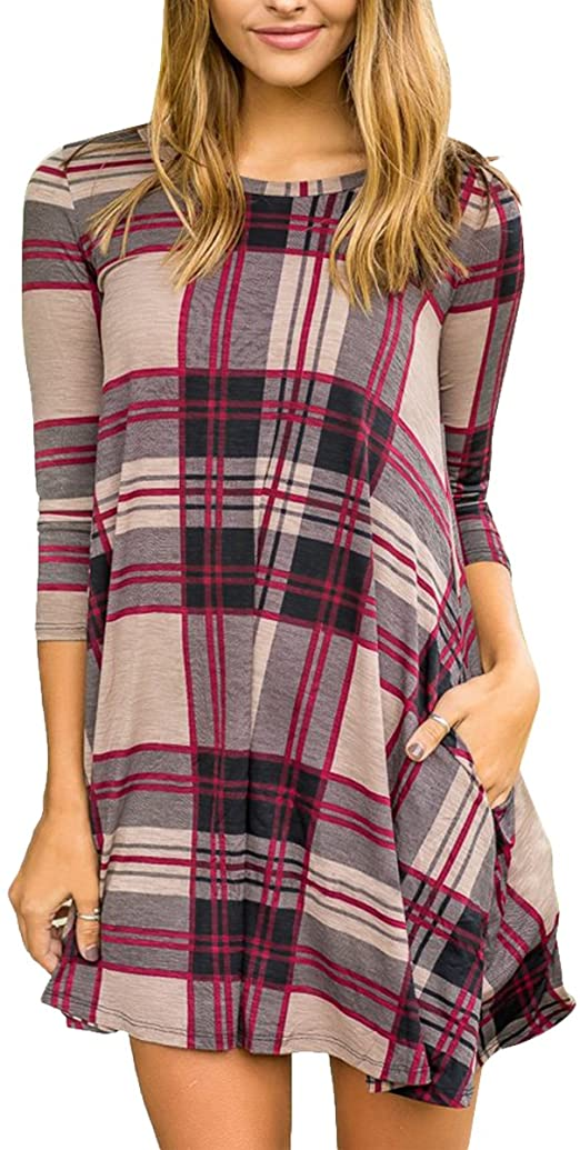 Makkrom Womens Loose Long Sleeve Plaid Tunic Dress Color Block Swing Oversized Tshirt Dress