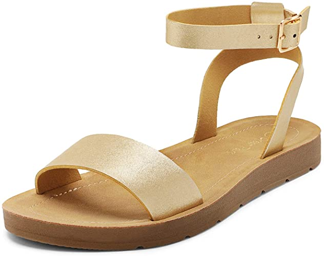 DREAM PAIRS Women's One Band Ankle Strap Buckle Flat Sandals