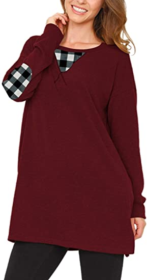 Viottiset Women's Tunic Top Sweatshirt T Shirts Long Sleeve Crew Neck Loose Elbow Patch