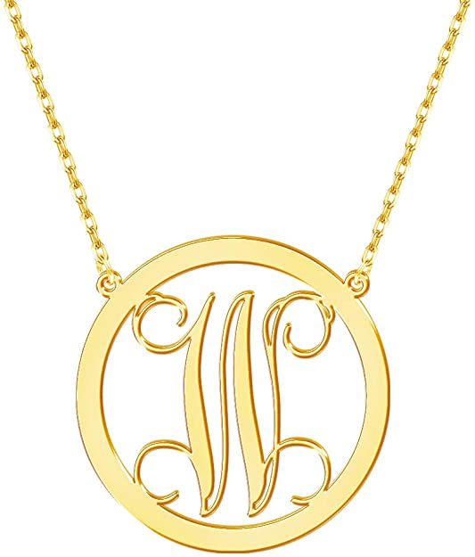 RoseMerry Personalized Initial Necklace Custom Big Letter Pendant Dainty Letter A-Z Necklace Jewelry