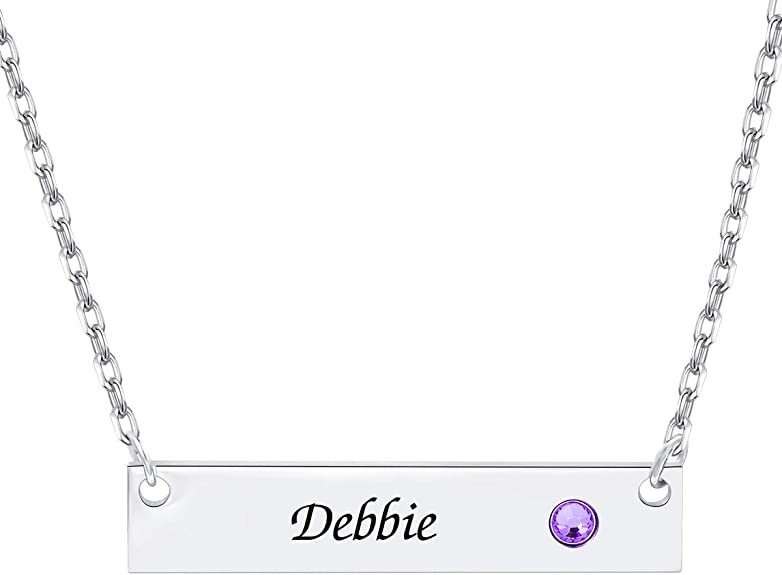 Bar Necklace Personalized, Custom Name Pendant with Birthstone 18K Gold Jewelry Gift for Women