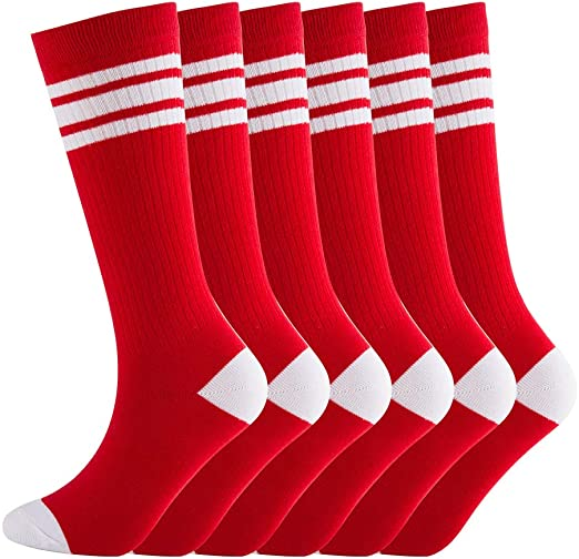 NEVSNEV Knee High Tube Socks Comfortable and Breathable with Triple Stripes for Boys, Girls, Toddler