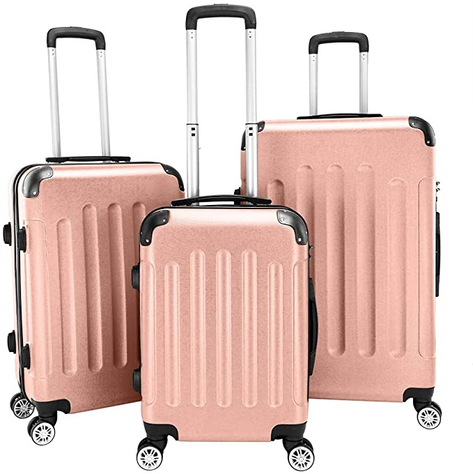 "3-in-1 Portable ABS Trolley Case 20"" / 24"" / 28"" Travel Luggage Suitcase Rose Gold"