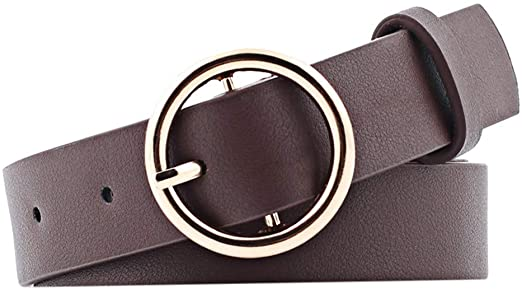 2020 New Round Faux Leather Belt Women's Personality Belt Casual Round Buckle Belt