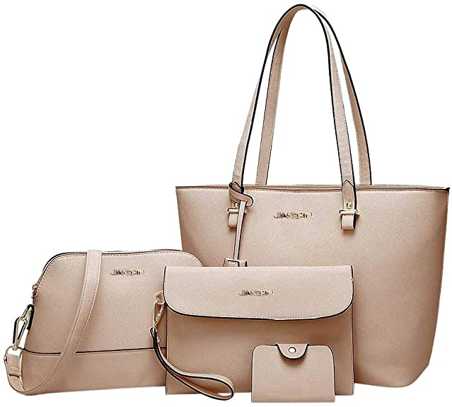 JINGJ Women Fashion Handbags Tote Bag Shoulder Bag Top Handle Satchel Wallet Purse Set 3Pcs