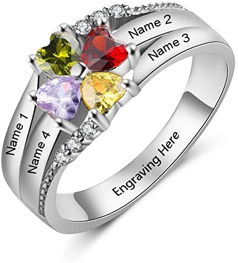 VESTVINE Personalized Mother Ring with 4 Heart Simulated Birthstones Custom Engagement Rings Engrave