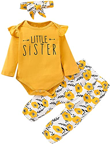 Aslaylme Girls Matching Sister Outfits Little Big Sister Cute Floral Bodysuit T-Shirt